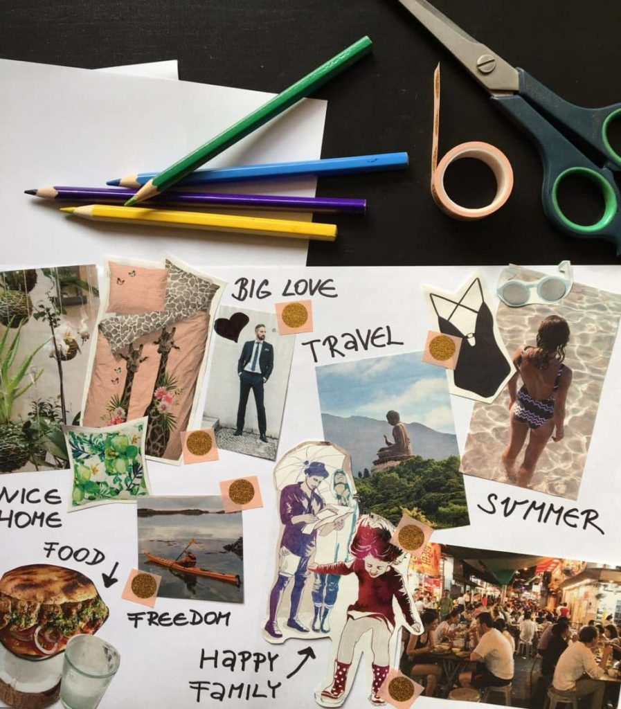 Creating a vision board helps keep you motivated.